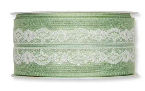 Deco ribbon with lace 40mm väri 128